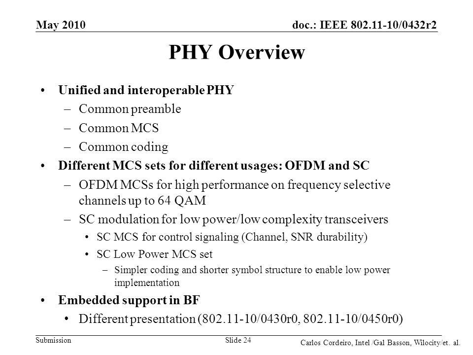 PHY Overview Unified and interoperable PHY Common preamble Common MCS