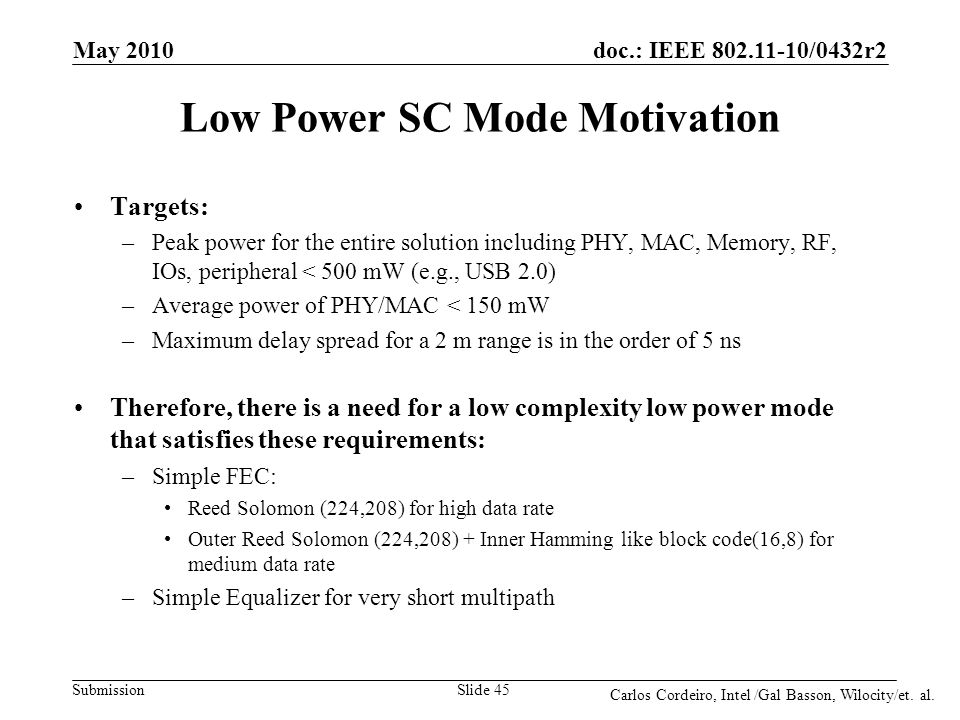 Low Power SC Mode Motivation