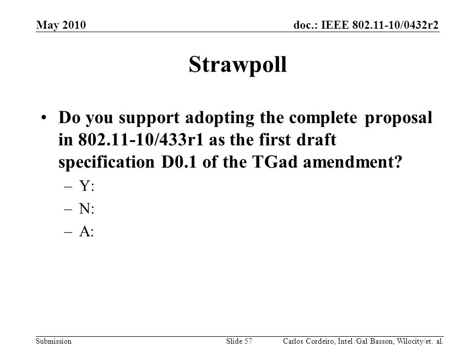 May 2010 Strawpoll. Do you support adopting the complete proposal in /433r1 as the first draft specification D0.1 of the TGad amendment