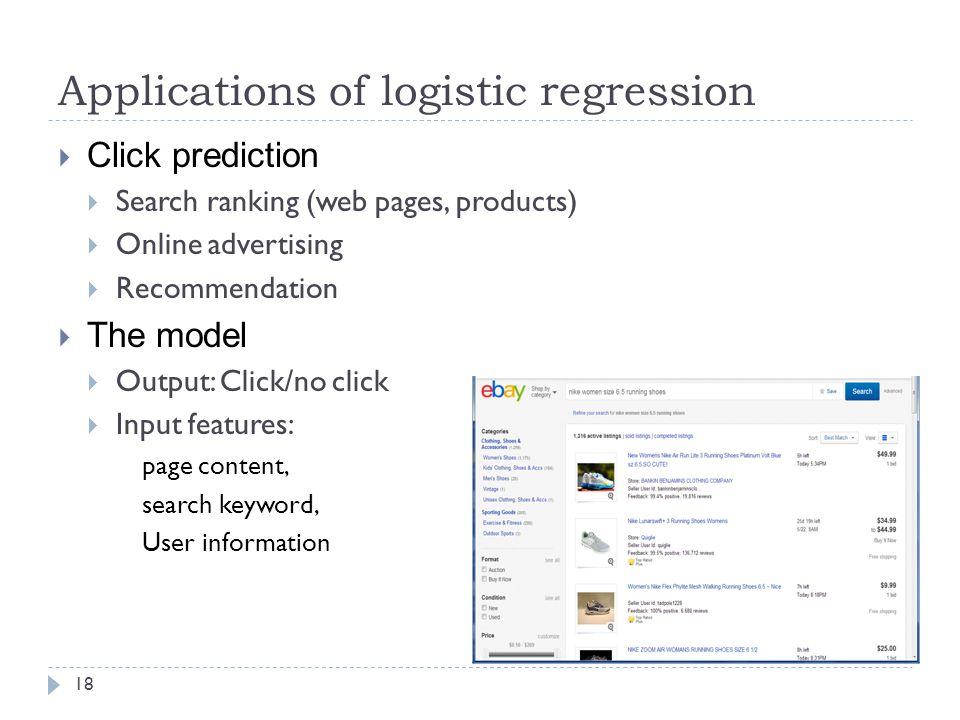Applications of logistic regression