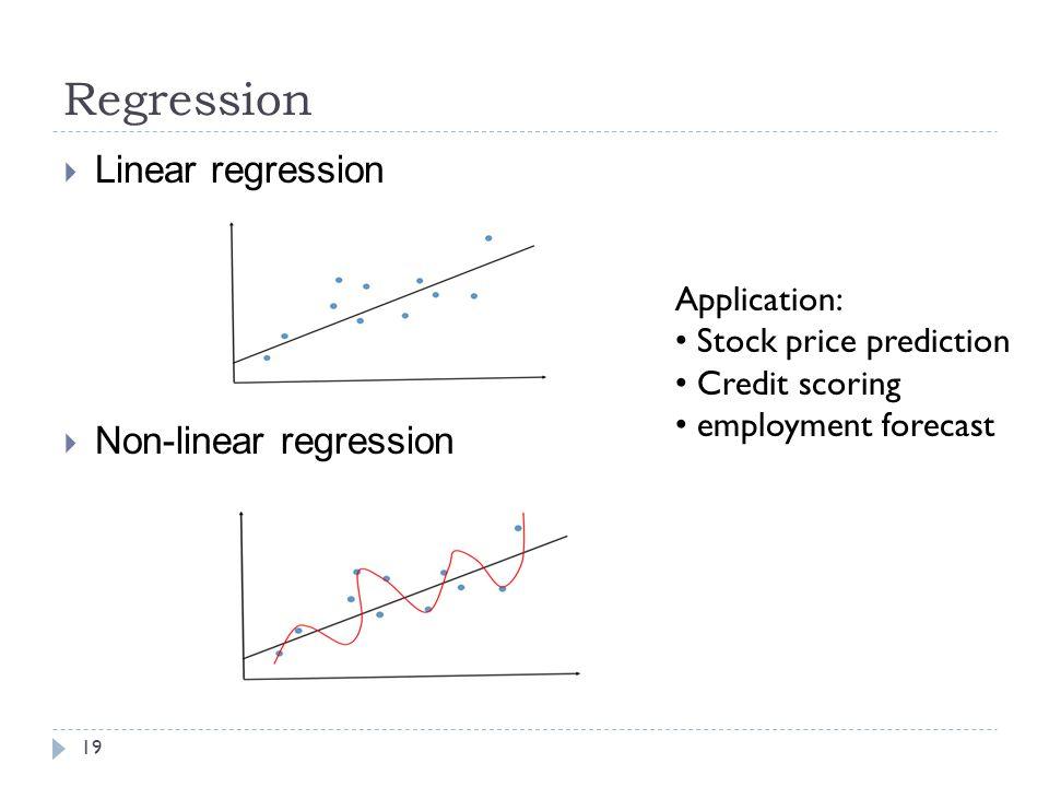 Regression Linear regression Non-linear regression Application:
