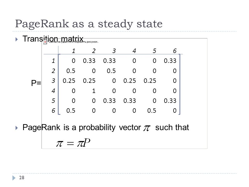 PageRank as a steady state