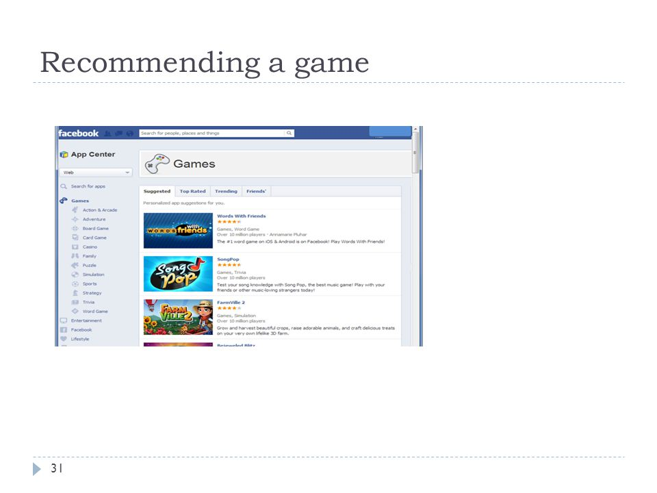 Recommending a game