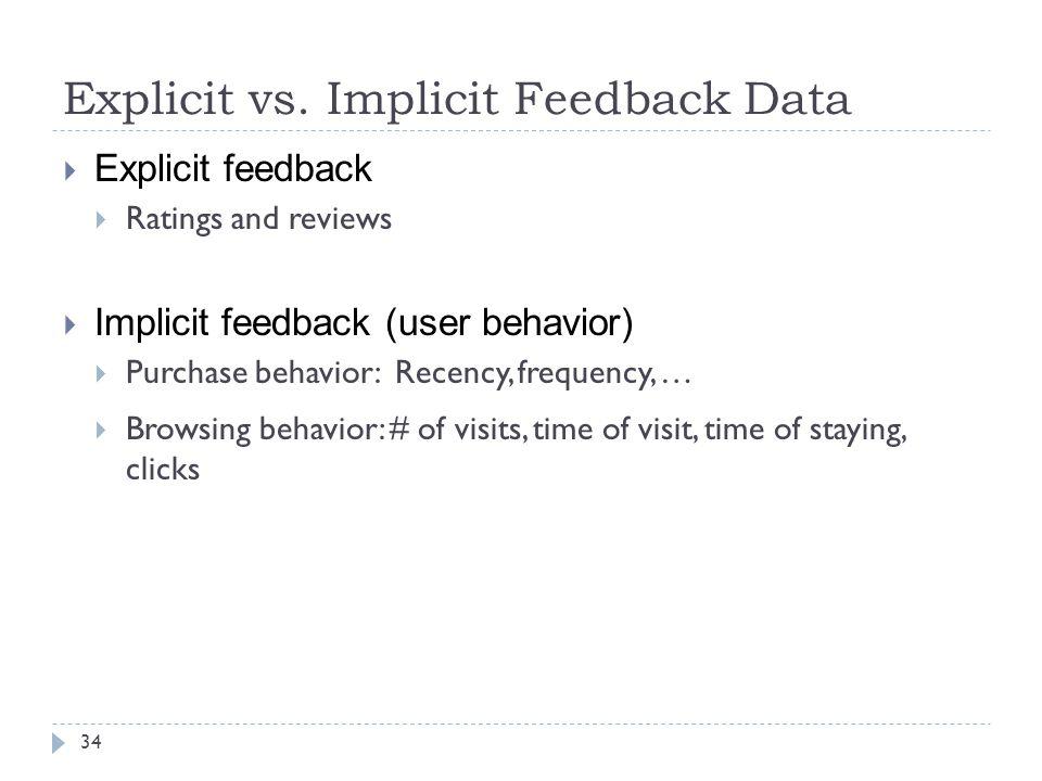 Explicit vs. Implicit Feedback Data