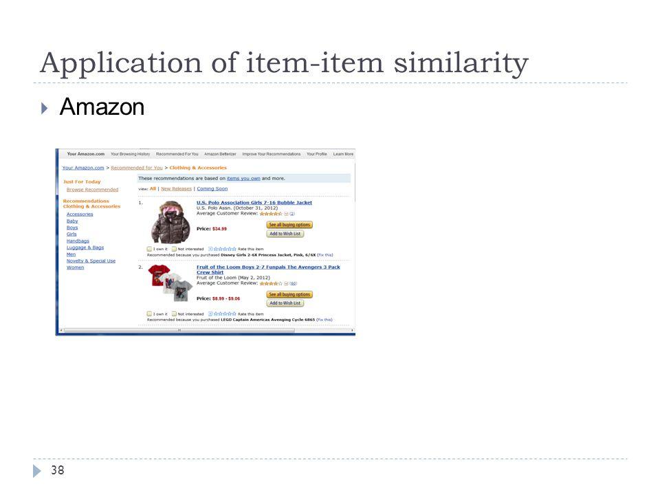 Application of item-item similarity