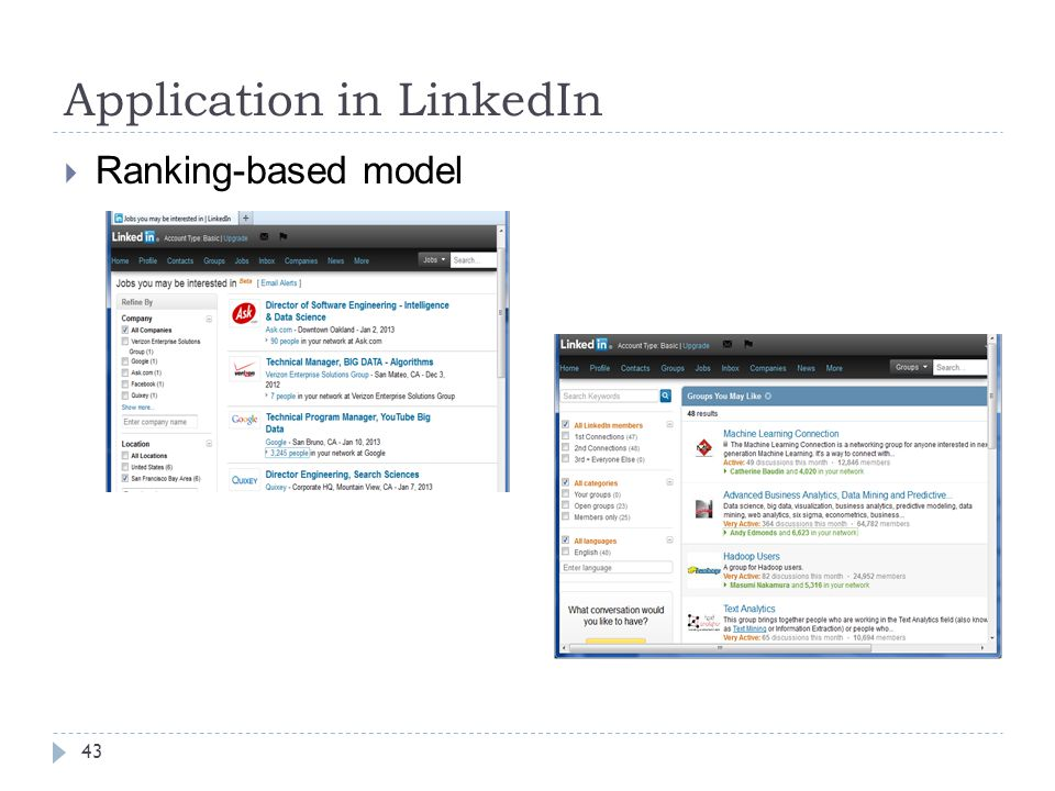 Application in LinkedIn