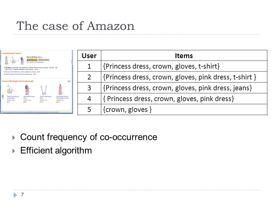 The case of Amazon Count frequency of co-occurrence