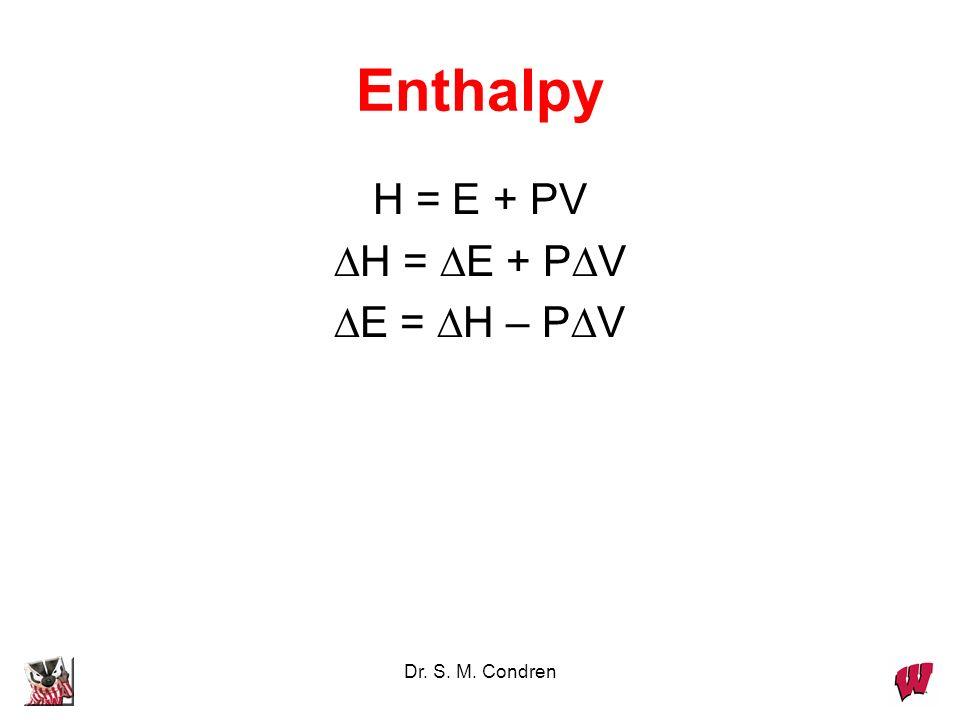 Enthalpy H = E + PV DH = DE + PDV DE = DH – PDV Dr. S. M. Condren