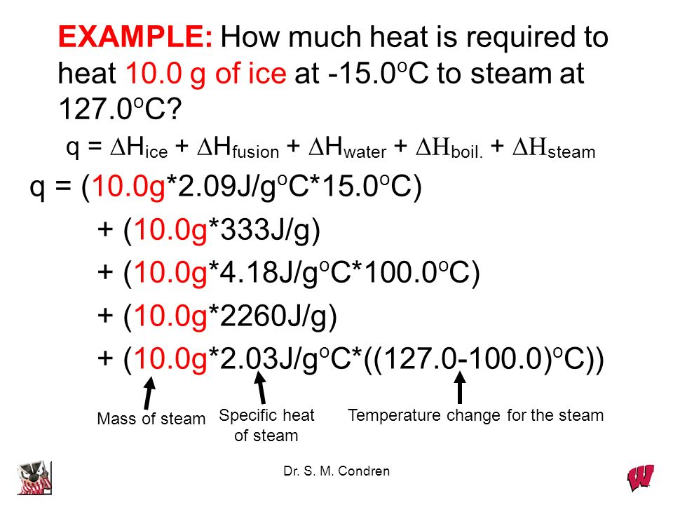 EXAMPLE: How much heat is required to heat 10. 0 g of ice at -15
