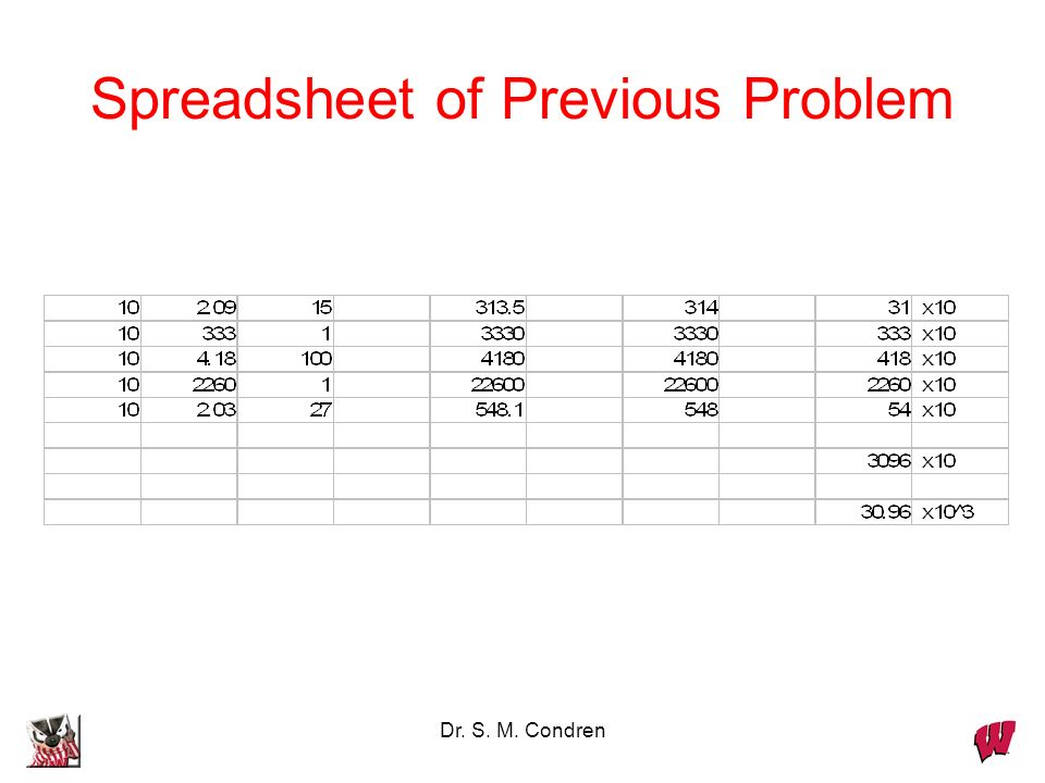 Spreadsheet of Previous Problem