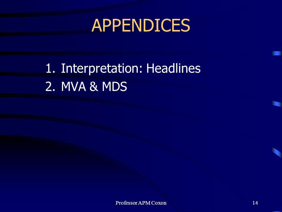 Interpretation: Headlines MVA & MDS