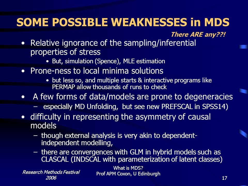 SOME POSSIBLE WEAKNESSES in MDS There ARE any !
