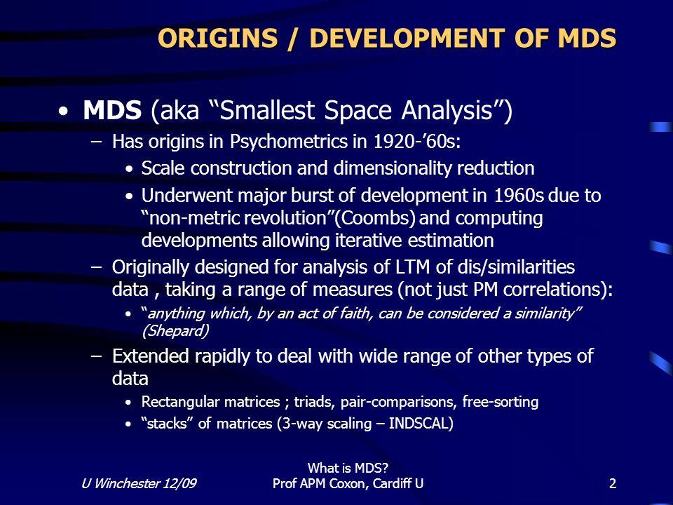 ORIGINS / DEVELOPMENT OF MDS