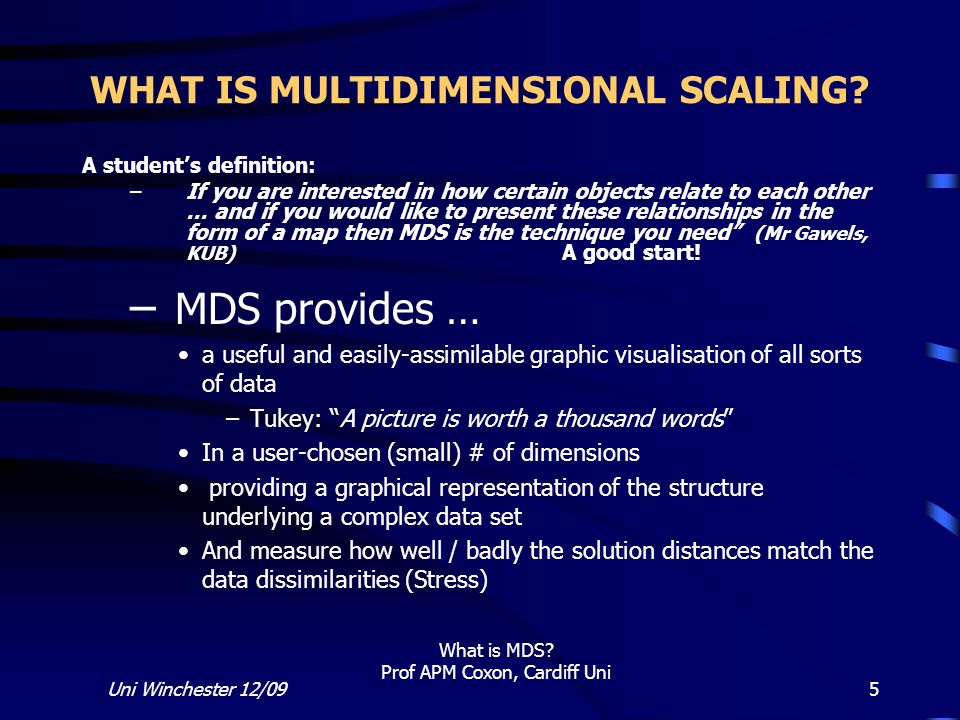 WHAT IS MULTIDIMENSIONAL SCALING