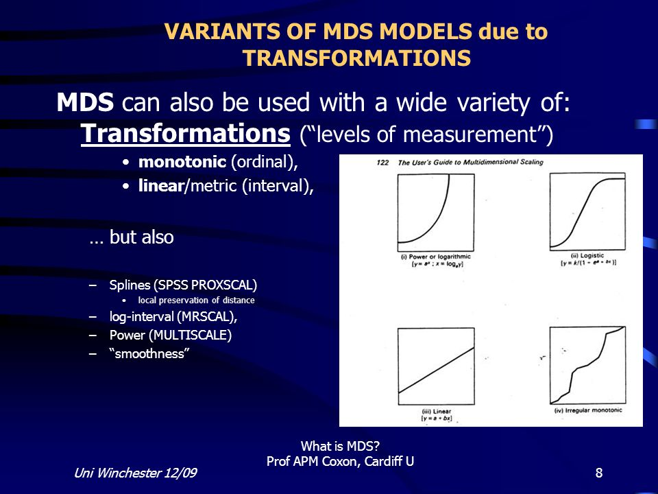 VARIANTS OF MDS MODELS due to TRANSFORMATIONS