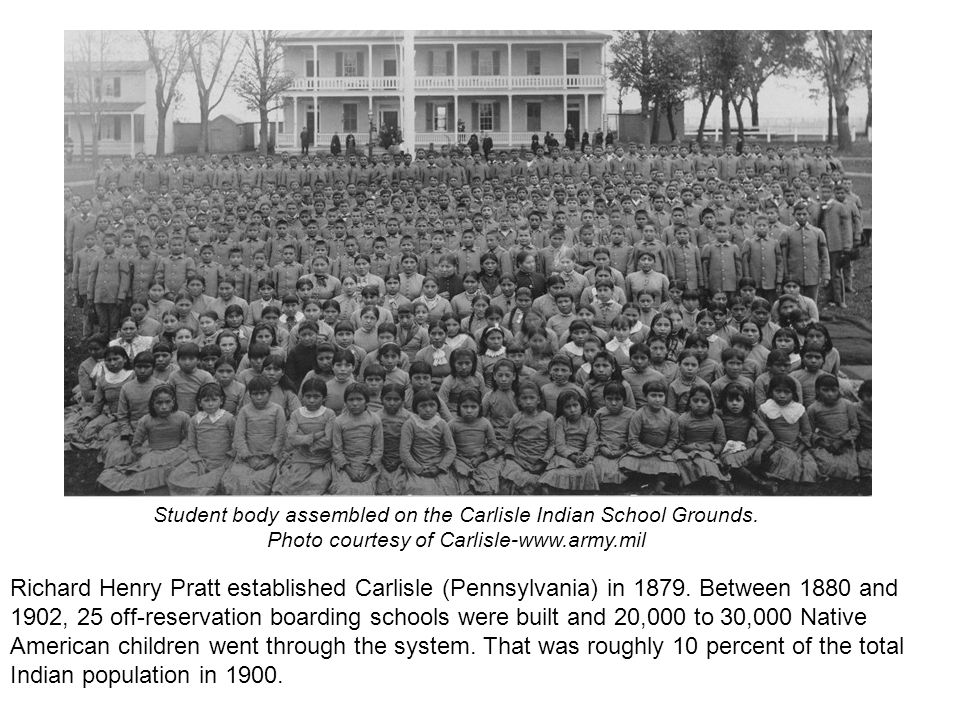 Student body assembled on the Carlisle Indian School Grounds