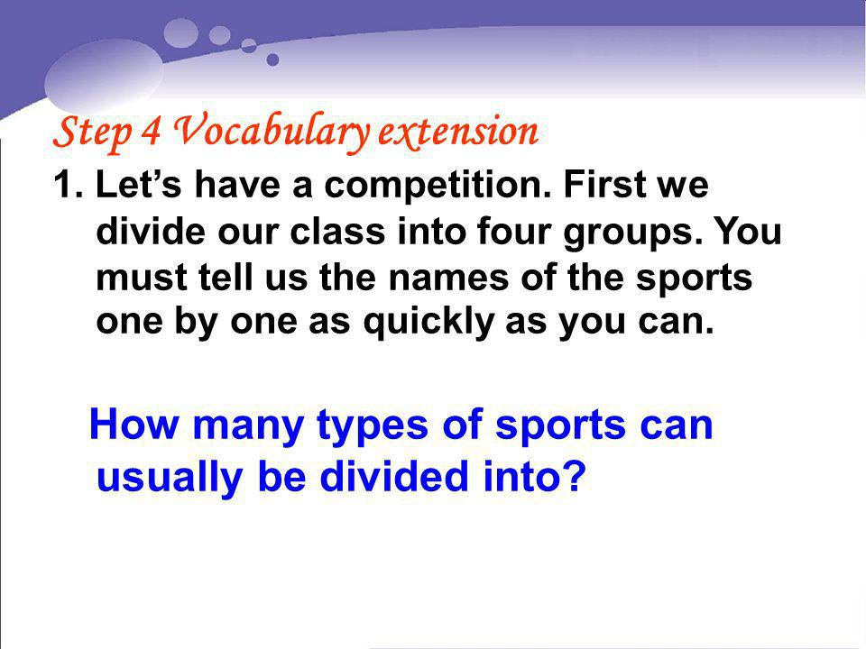 Step 4 Vocabulary extension