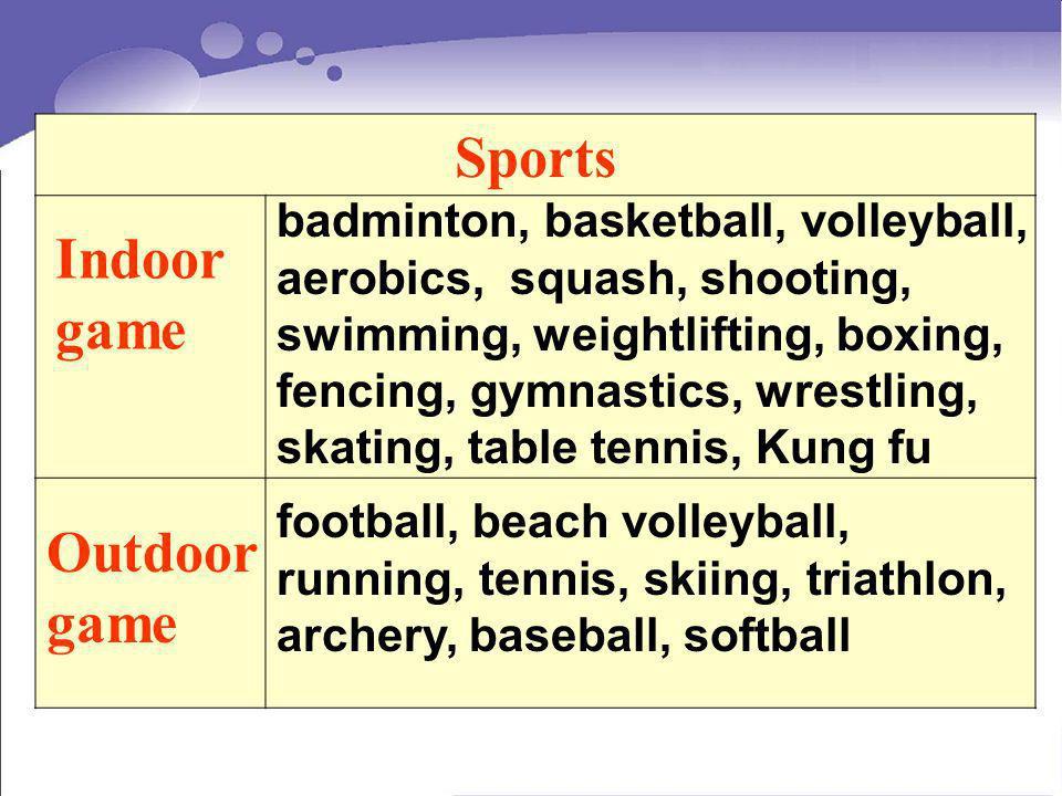 Sports Indoor game Outdoor game