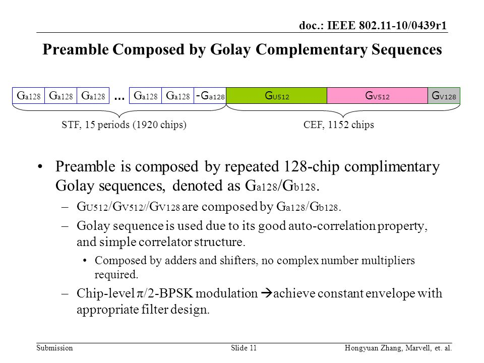 Preamble Composed by Golay Complementary Sequences