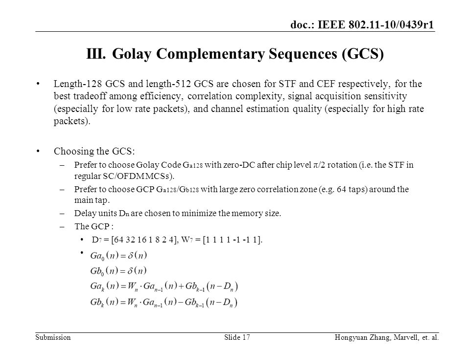III. Golay Complementary Sequences (GCS)