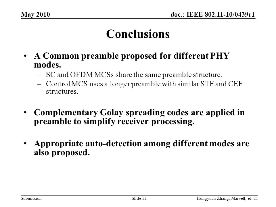 Conclusions A Common preamble proposed for different PHY modes.