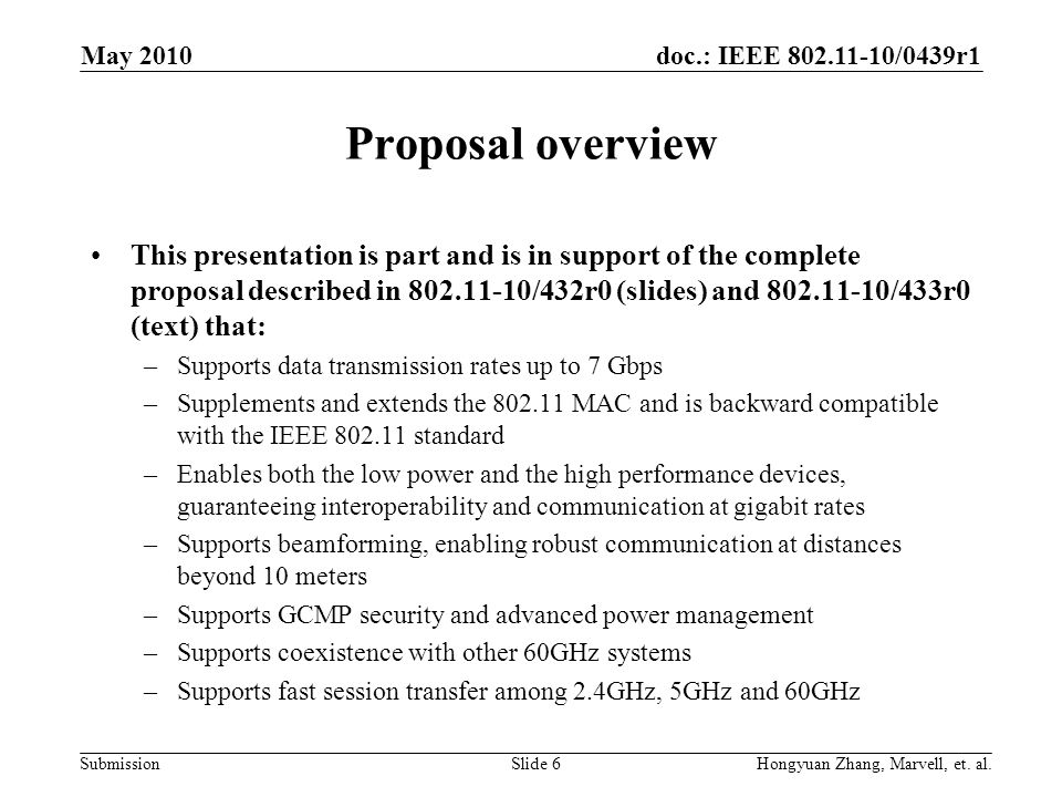 May 2010 Proposal overview.