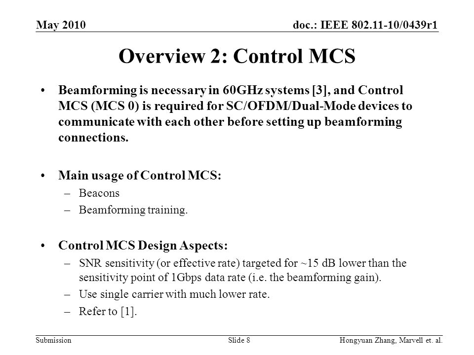 May 2010 Overview 2: Control MCS.