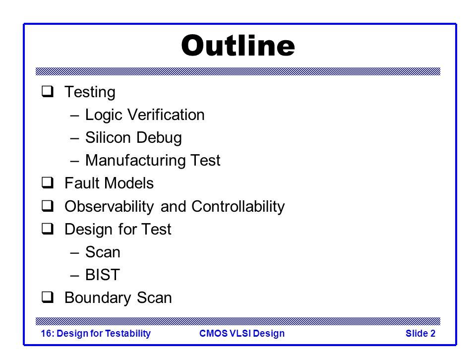 Outline Testing Logic Verification Silicon Debug Manufacturing Test