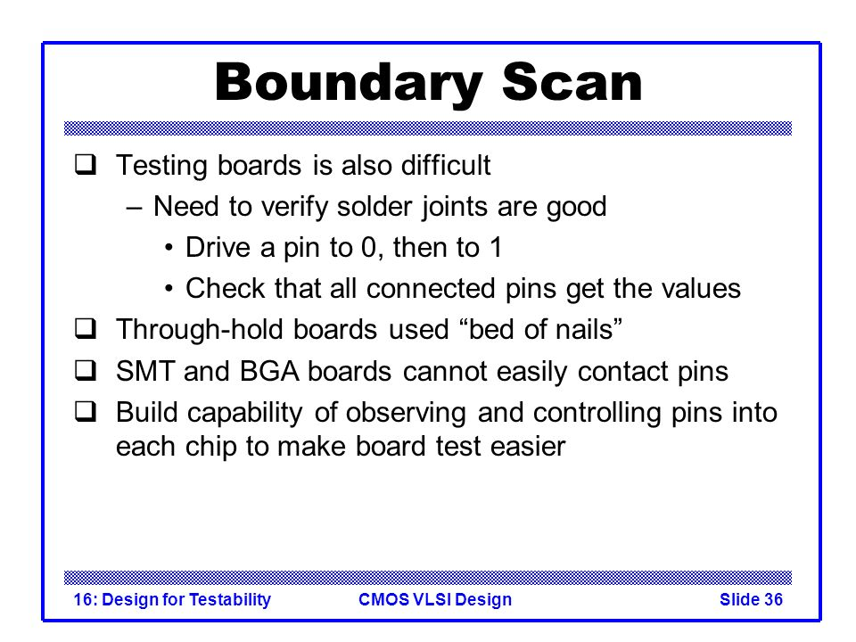 Boundary Scan Testing boards is also difficult