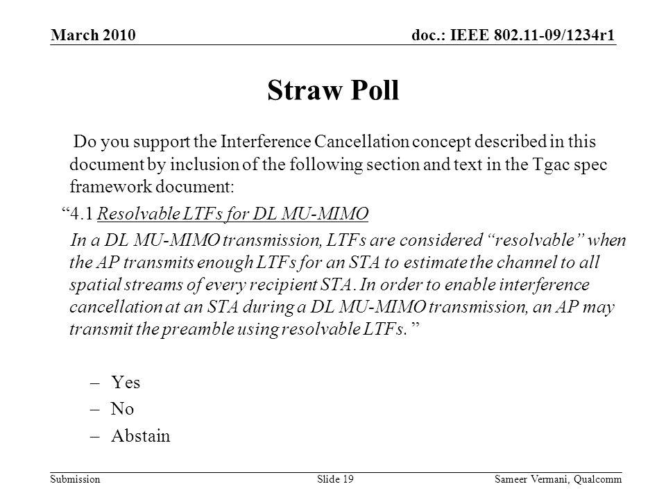 March 2010 Straw Poll.