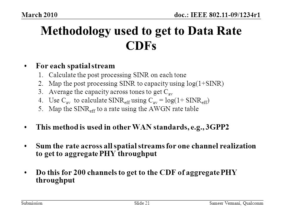 Methodology used to get to Data Rate CDFs