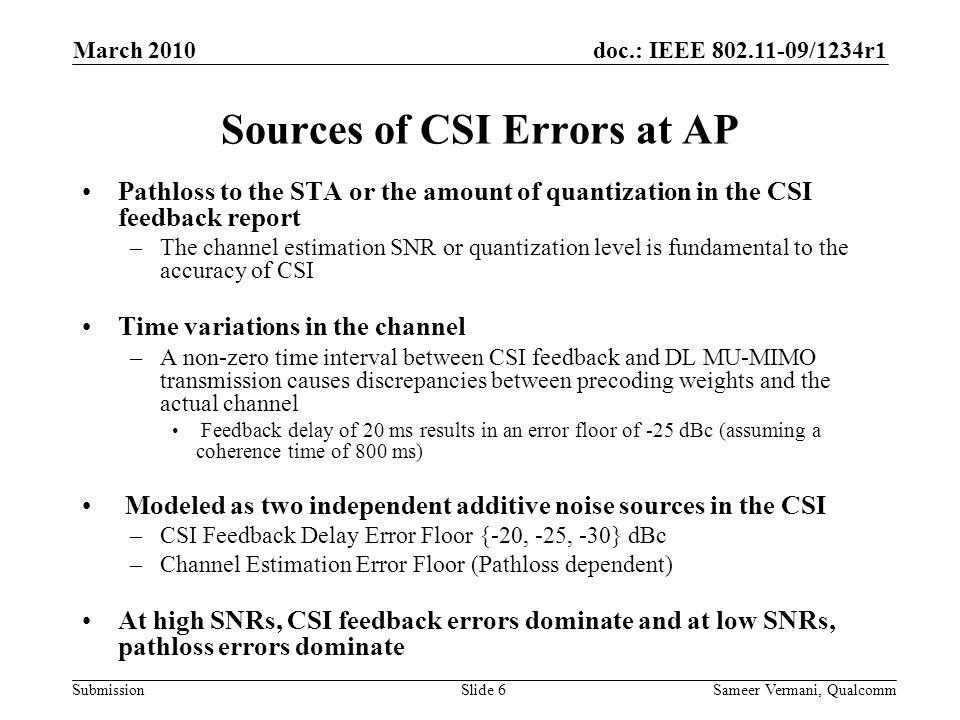 Sources of CSI Errors at AP