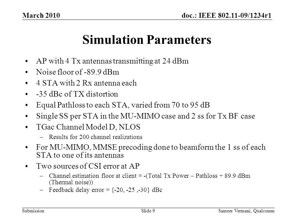 Simulation Parameters