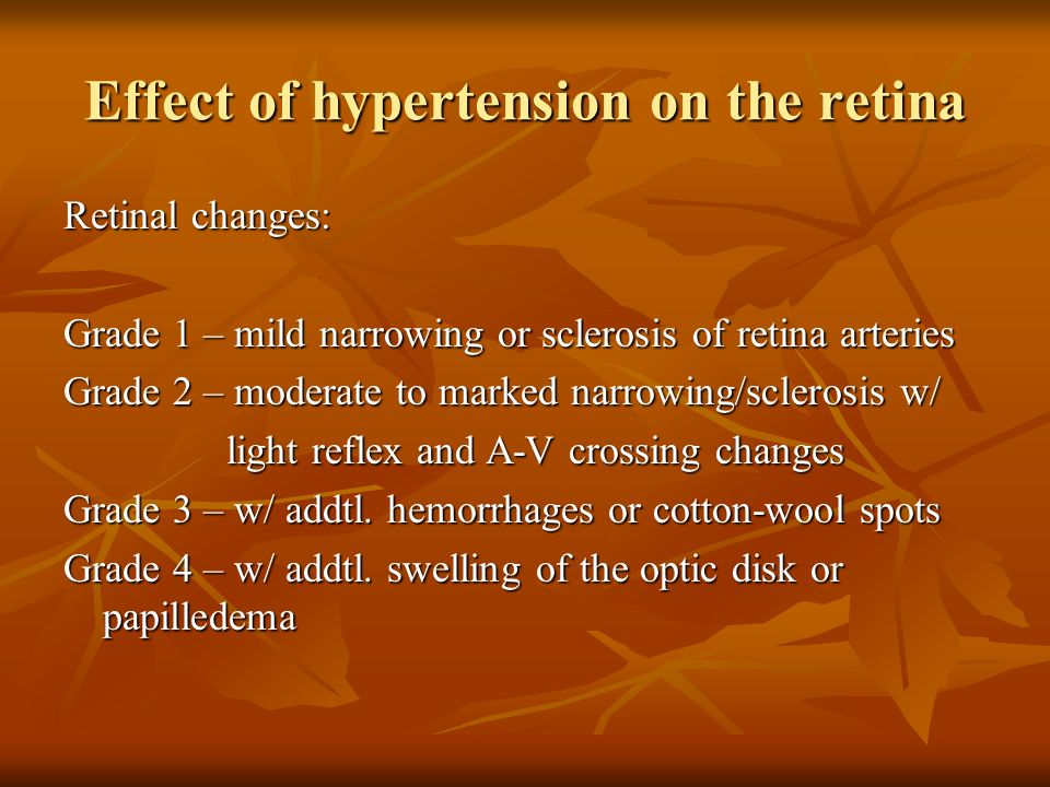 Effect of hypertension on the retina