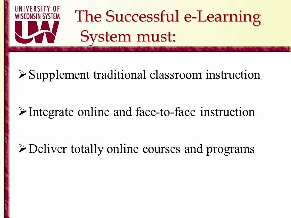 The Successful e-Learning System must: