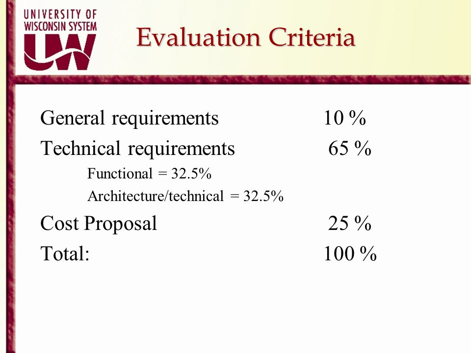 Evaluation Criteria General requirements 10 %
