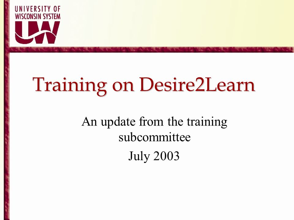 Training on Desire2Learn