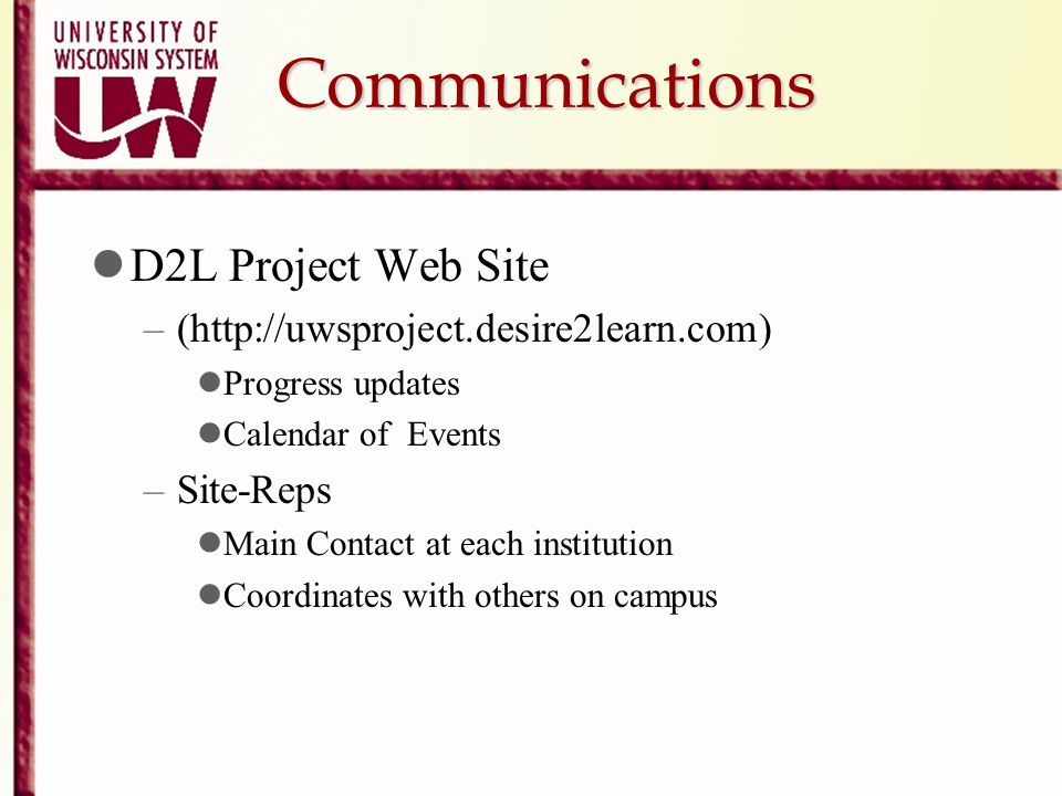 Communications D2L Project Web Site