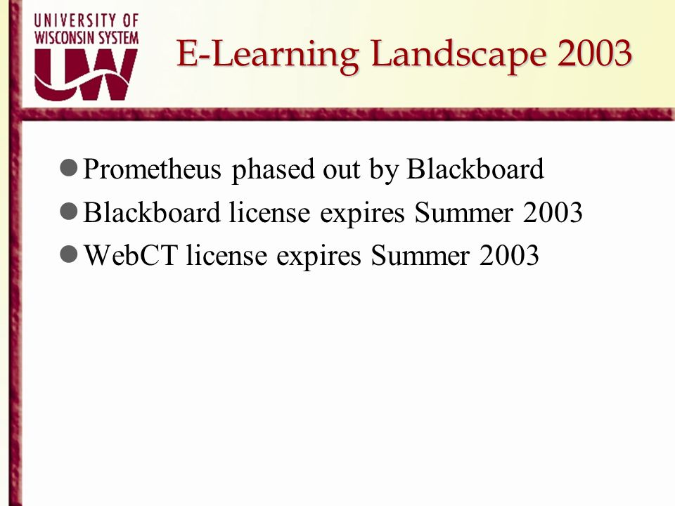 E-Learning Landscape 2003 Prometheus phased out by Blackboard