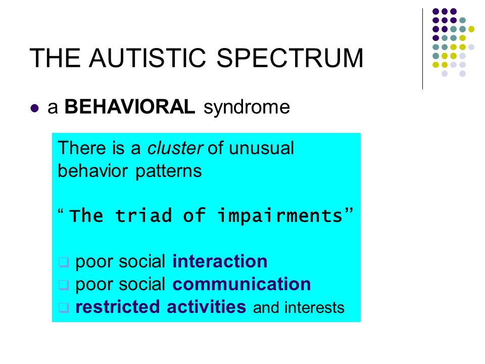 THE AUTISTIC SPECTRUM a BEHAVIORAL syndrome