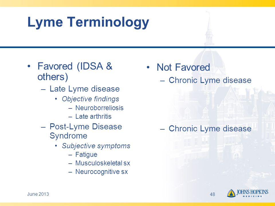 Lyme Terminology Favored (IDSA & others) Not Favored