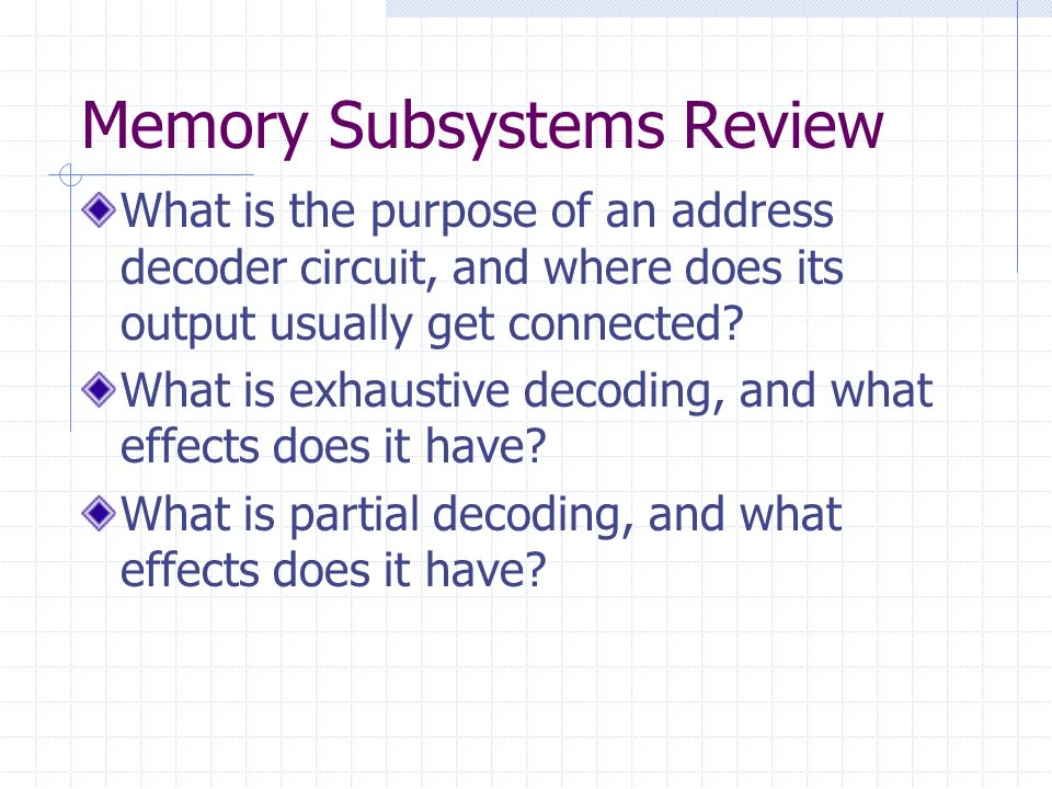 Memory Subsystems Review
