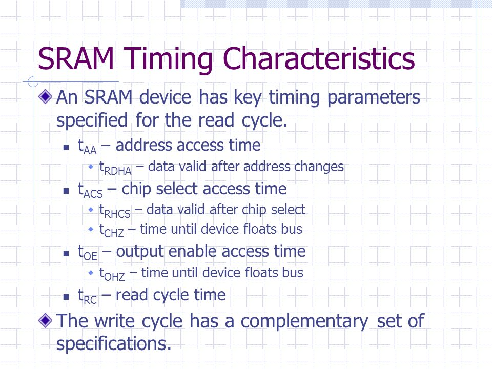 SRAM Timing Characteristics