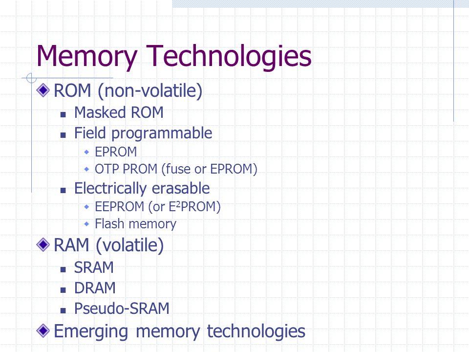 Memory Technologies ROM (non-volatile) RAM (volatile)