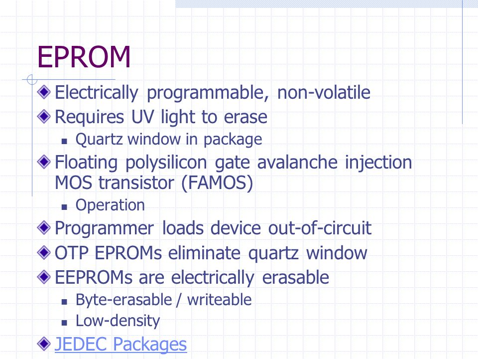 EPROM Electrically programmable, non-volatile