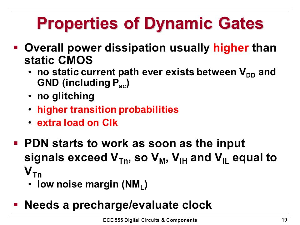 Properties of Dynamic Gates