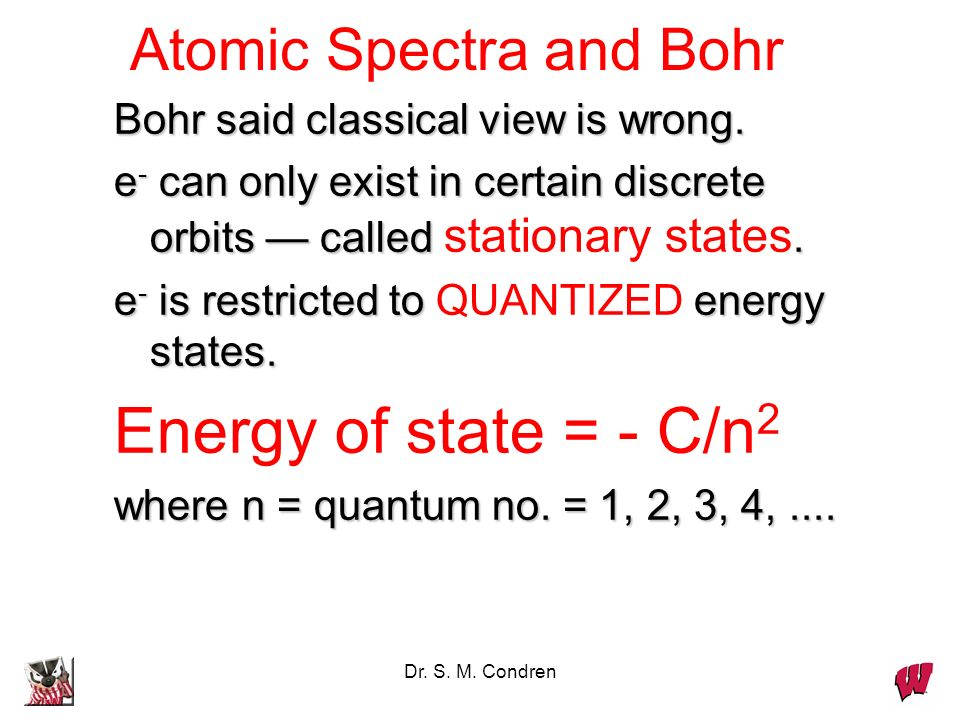 Energy of state = - C/n2 Atomic Spectra and Bohr