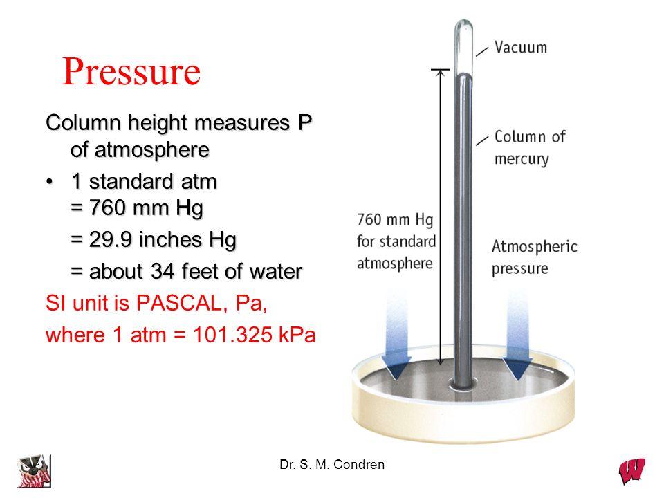 Pressure Column height measures P of atmosphere