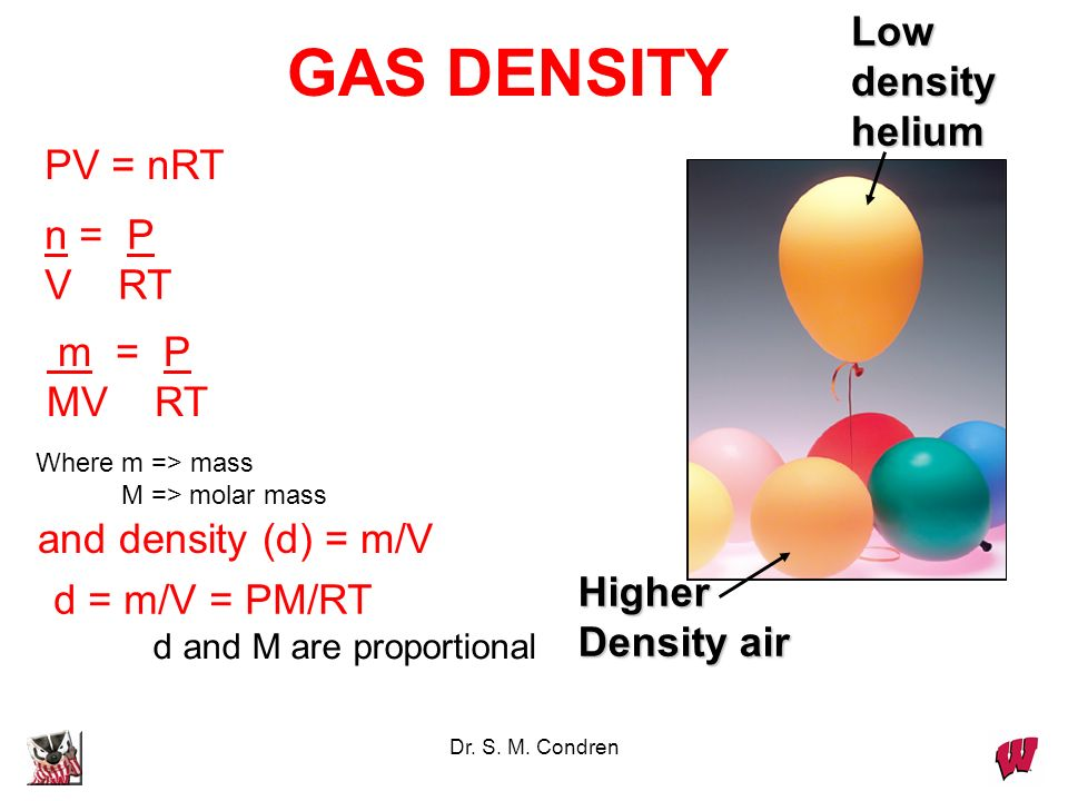 GAS DENSITY Low density helium PV = nRT n = P V RT m = P MV RT
