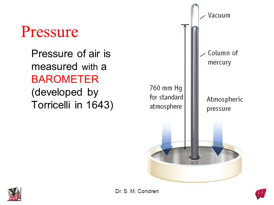 Pressure Pressure of air is measured with a BAROMETER (developed by Torricelli in 1643) Dr.